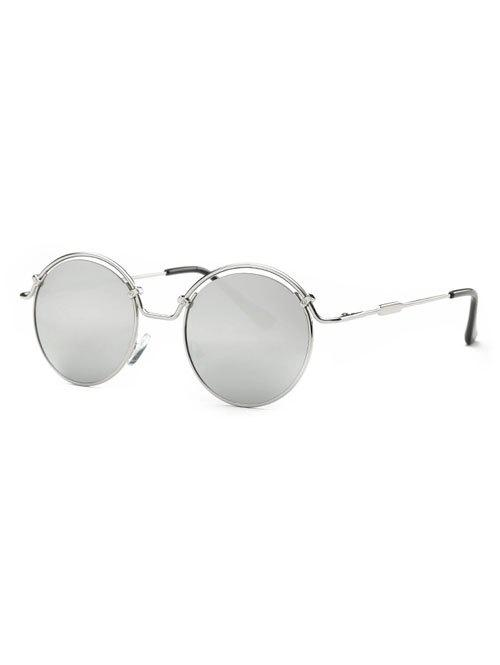 Stylish Wire Frame Mirrored Sunglasses - SILVER