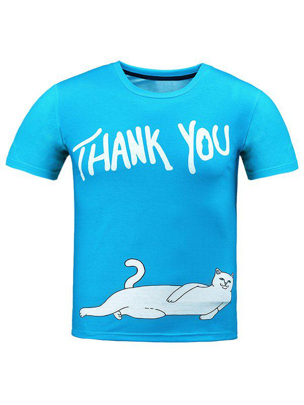 Round Neck 3D Cat and Letter T-Shirt - BLUE 2XL