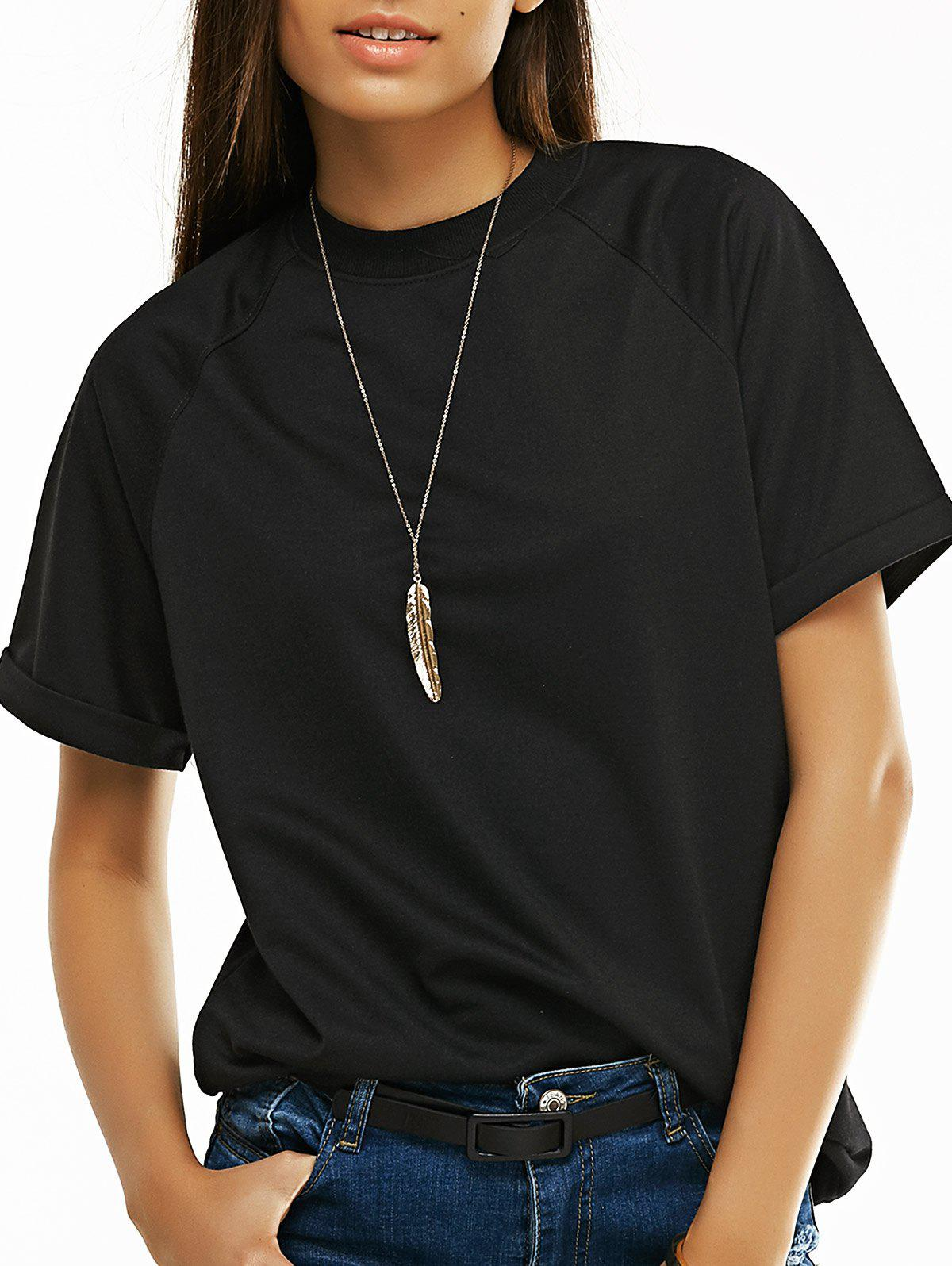 Candy Color Short Sleeve T-Shirt - BLACK XL