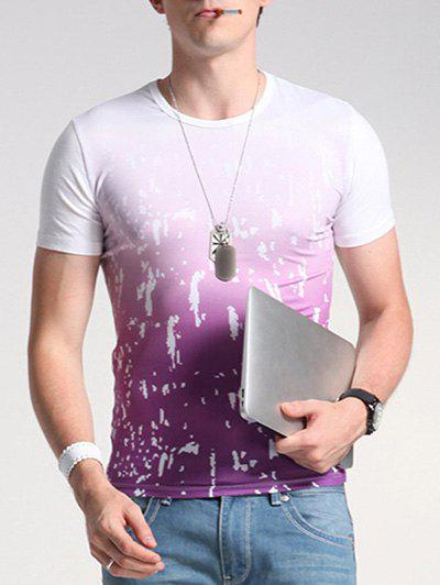 Print Ombre Round Neck Short Sleeve Men's T-Shirt - WHITE XL