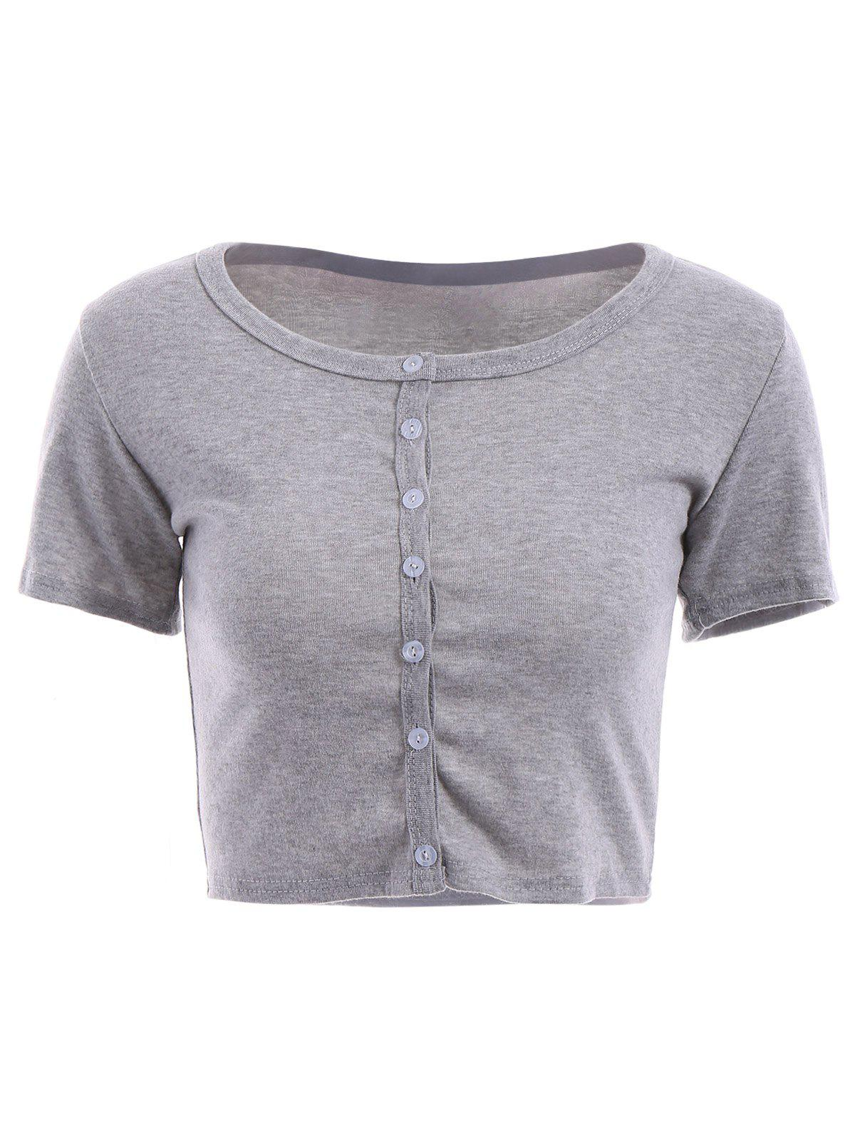 Chic Scoop Neck Short Sleeves Button Embellished Women's Crop Top - GRAY S