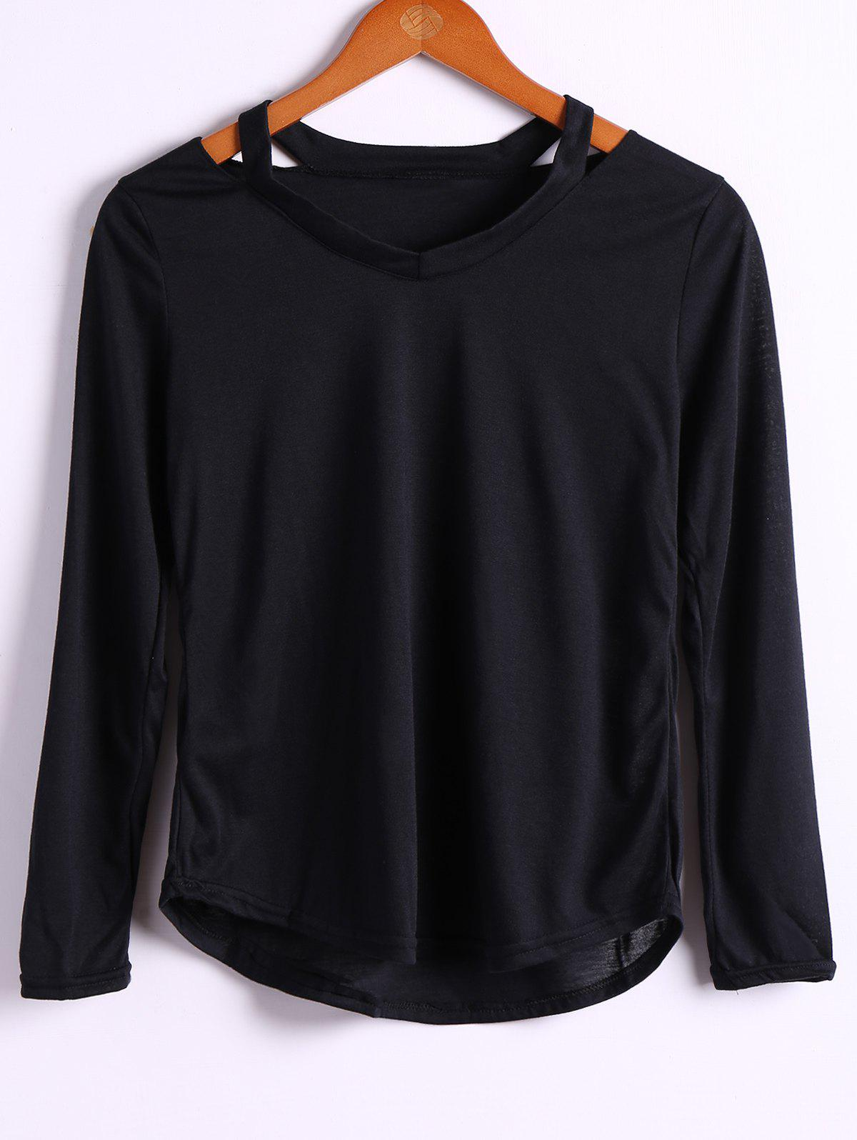 Trendy Long Sleeve V-Neck Solid Color Loose Cotton T-Shirt