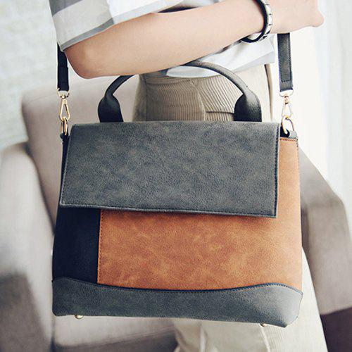 Fashionable Color Splicing and Covered Closure Design Women's Shoulder Bag - GRAY