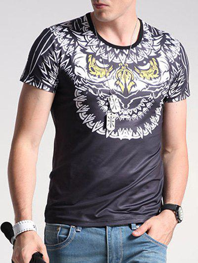 Animal Print Round Neck Short Sleeve Men's T-Shirt