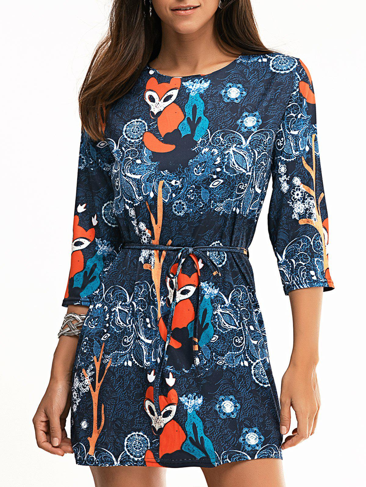 Jewel Neck 3/4 Sleeve Fox Dress - CADETBLUE XL