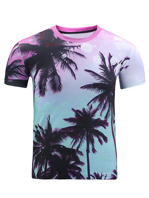 Round Neck 3D Ombre Trees Print Short Sleeve Men's T-Shirt - COLORMIX S