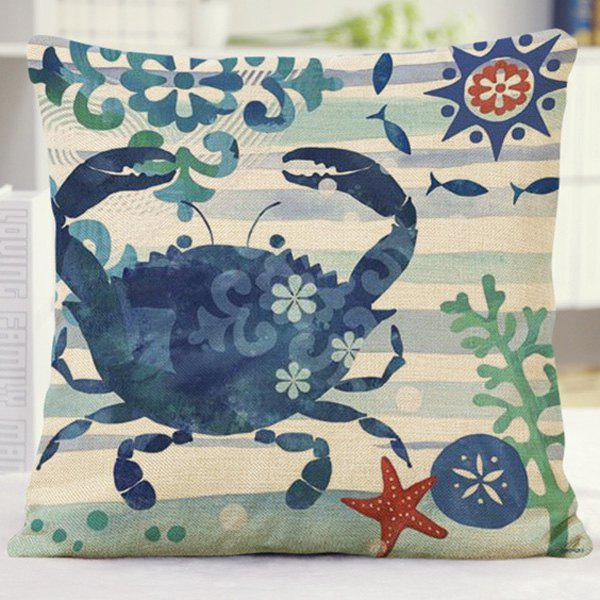 Cute Home Decor Floral Stripe Crab Pattern Pillow Case - BLUE