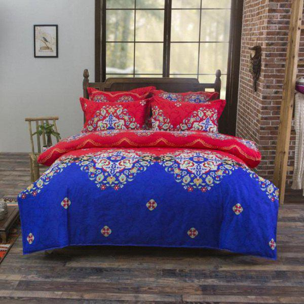 Frugal Hot Selling Reactive Print 4PCS Duvet Cover Bedding Set - COLORMIX FULL