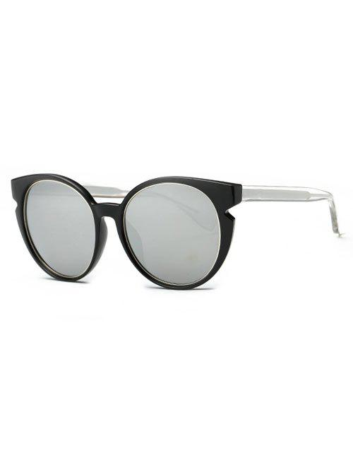 Stylish Full Frame Cat Eye Mirrored Sunglasses - SILVER