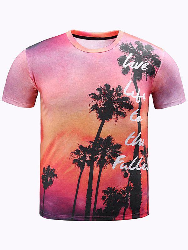 Round Neck 3D Ombre Trees and Letters Print Short Sleeve Men's T-Shirt - RED 2XL