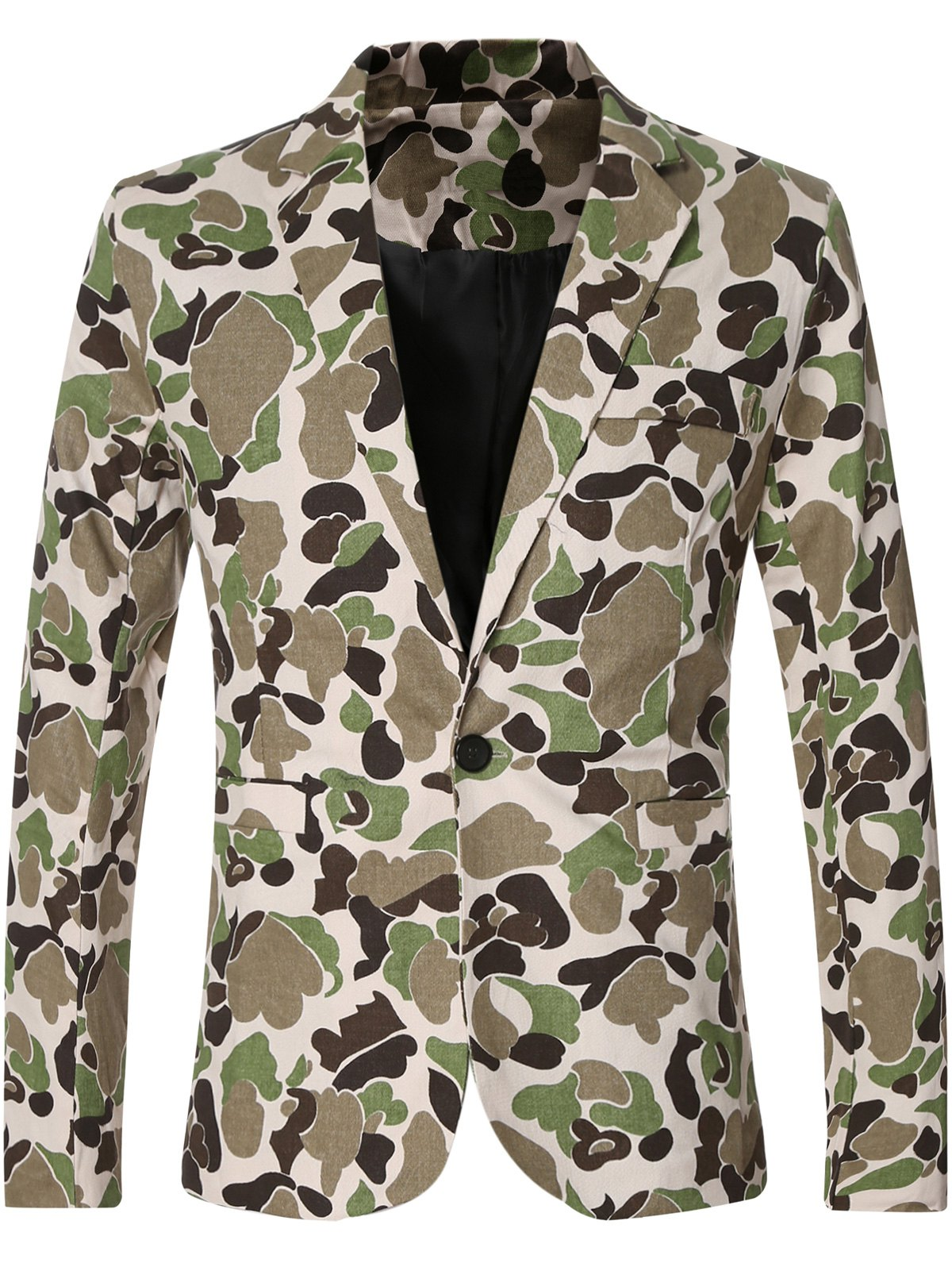 Single Button Opening Notched Lapel Collar Camo Bomber Blazer For Men - GREEN M