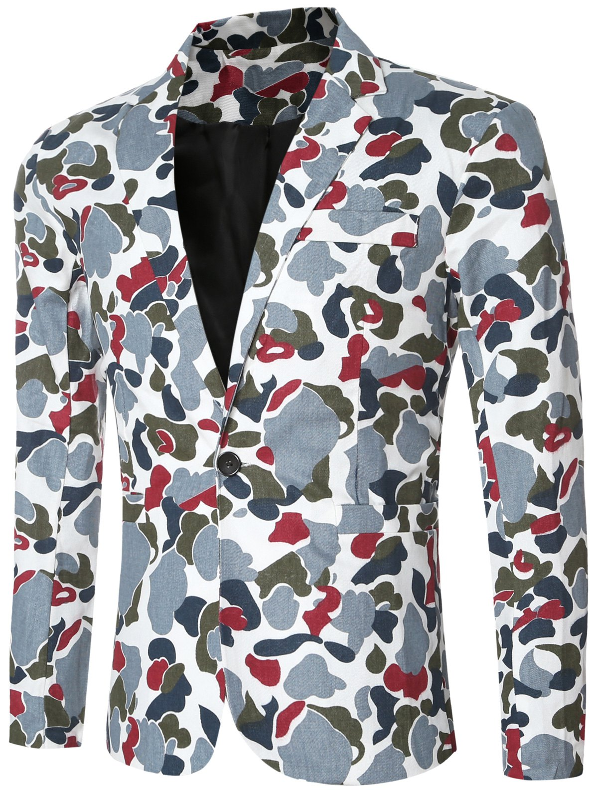 Single Button Opening Notched Lapel Collar Camo Bomber Blazer For Men - BLUE L