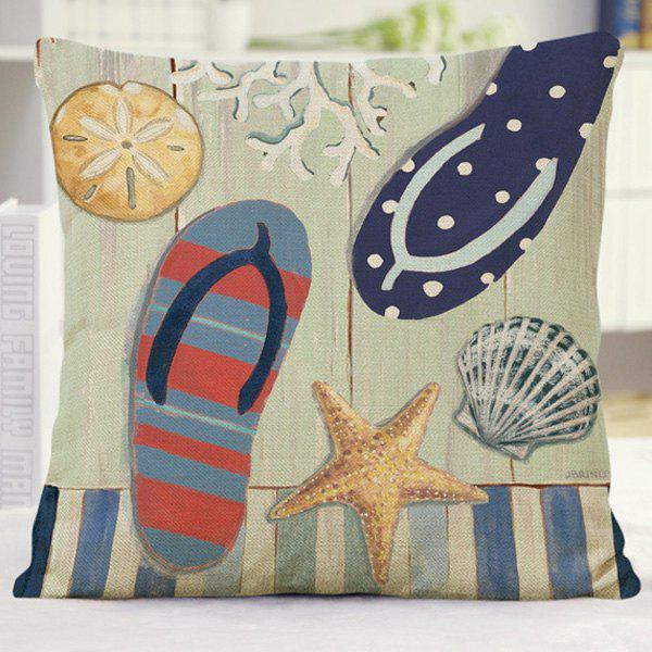 Creative Sea Slippers Starfish Pattern Home Decor Pillow Case - COLORMIX