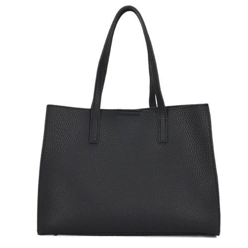 Fashion Magnetic Closure and Solid Color Design Women's Shoulder Bag - BLACK