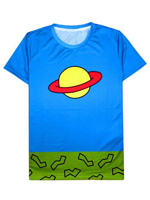 Round Neck Color Block Cartoon Saturn Print Short Sleeve Men's T-Shirt - LIGHT BLUE XL