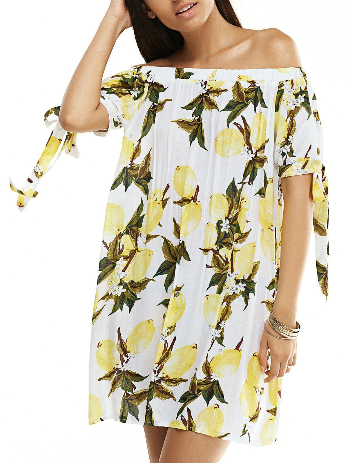 Off The Shoulder Lemon Printed Dress - WHITE/YELLOW L