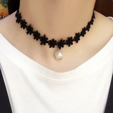 Faux Pearl Charm Floral Choker Necklace - BLACK