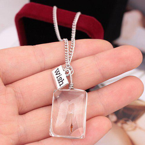 Faux Crystal Dandelion Wish Card Lucky Pendant Necklace - SILVER
