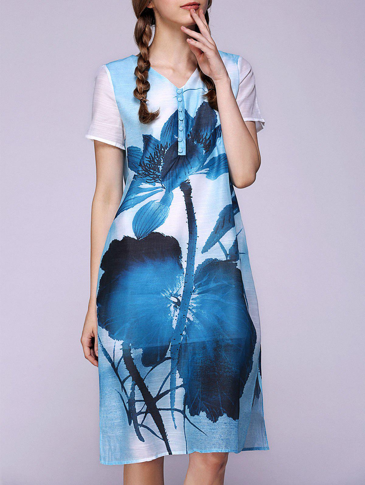 Lotus Flower Ink Painting V Neck Slit Dress - BLUE 3XL
