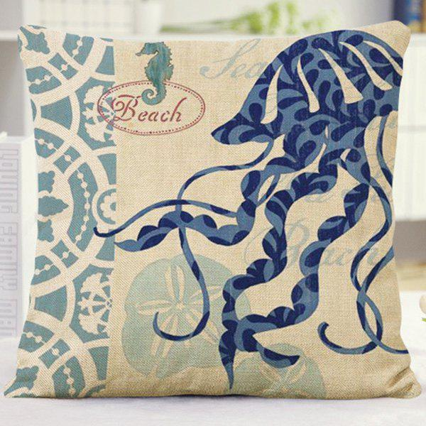 Stylish Home Decor Floral Letter Jellyfish Pattern Pillow Case - BLUE
