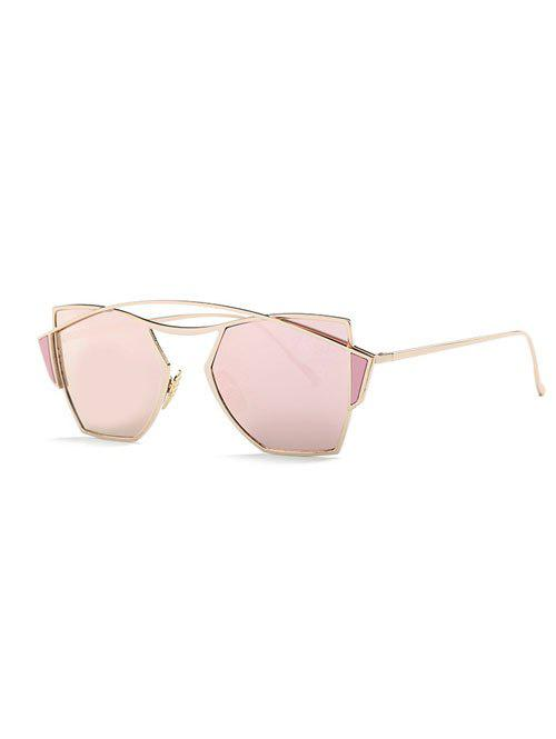 Stylish Crossbar Irregular Mirrored Sunglasses - ROSE GOLD