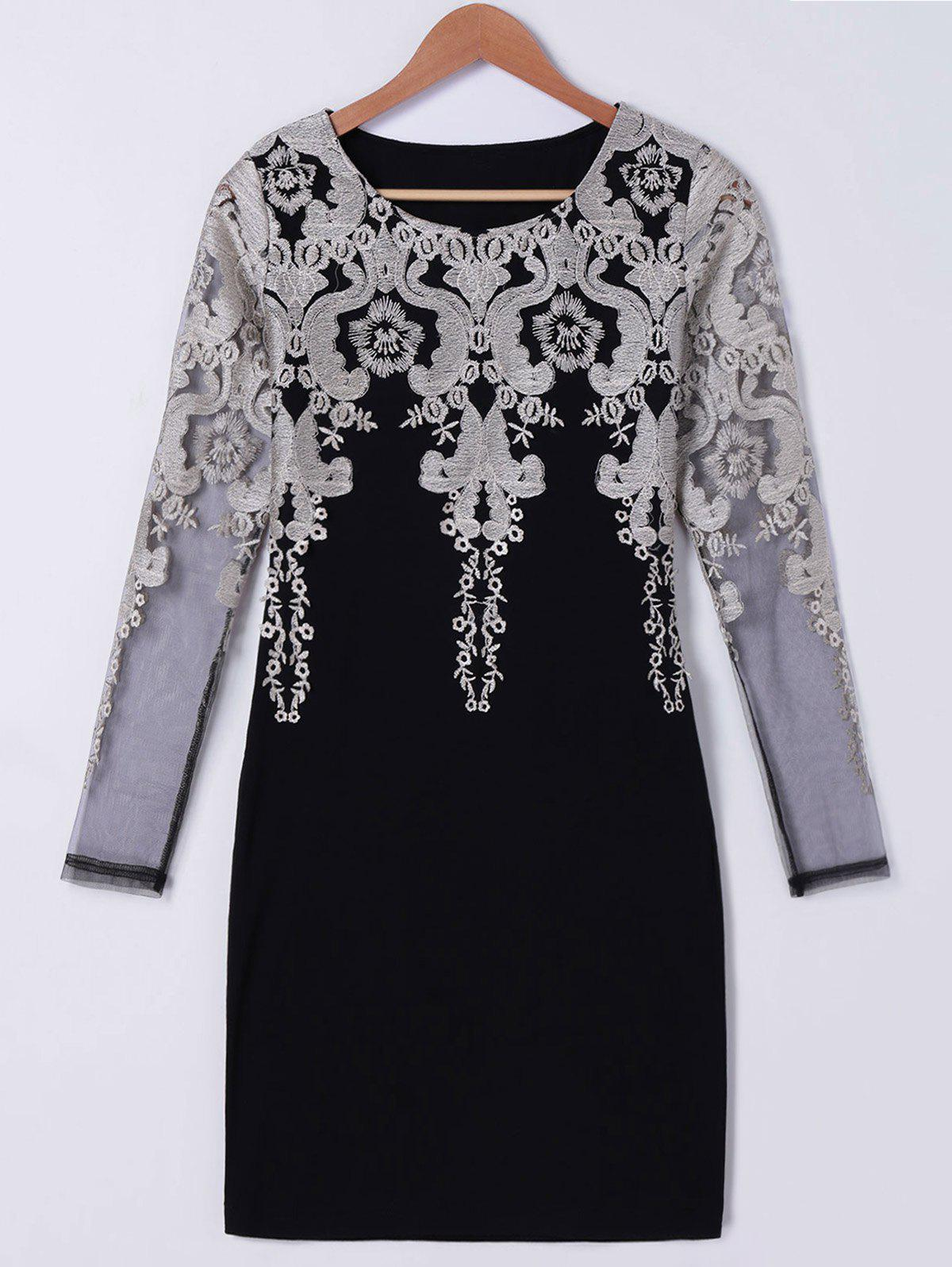 Trendy Long Sleeve Embroidered Bodycon Dress - BLACK M