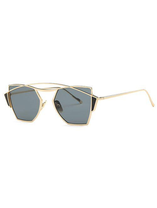 Stylish Crossbar Cut Out Irregular Sunglasses - GOLDEN