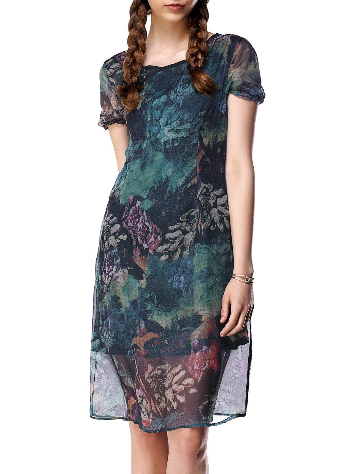 Gauzy Short Sleeve Floral Pattern Dress For Women - GREEN 2XL