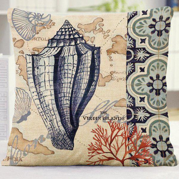 Mediterranean Style Floral Letter Conch Coral Pattern Pillow Case - BLUE