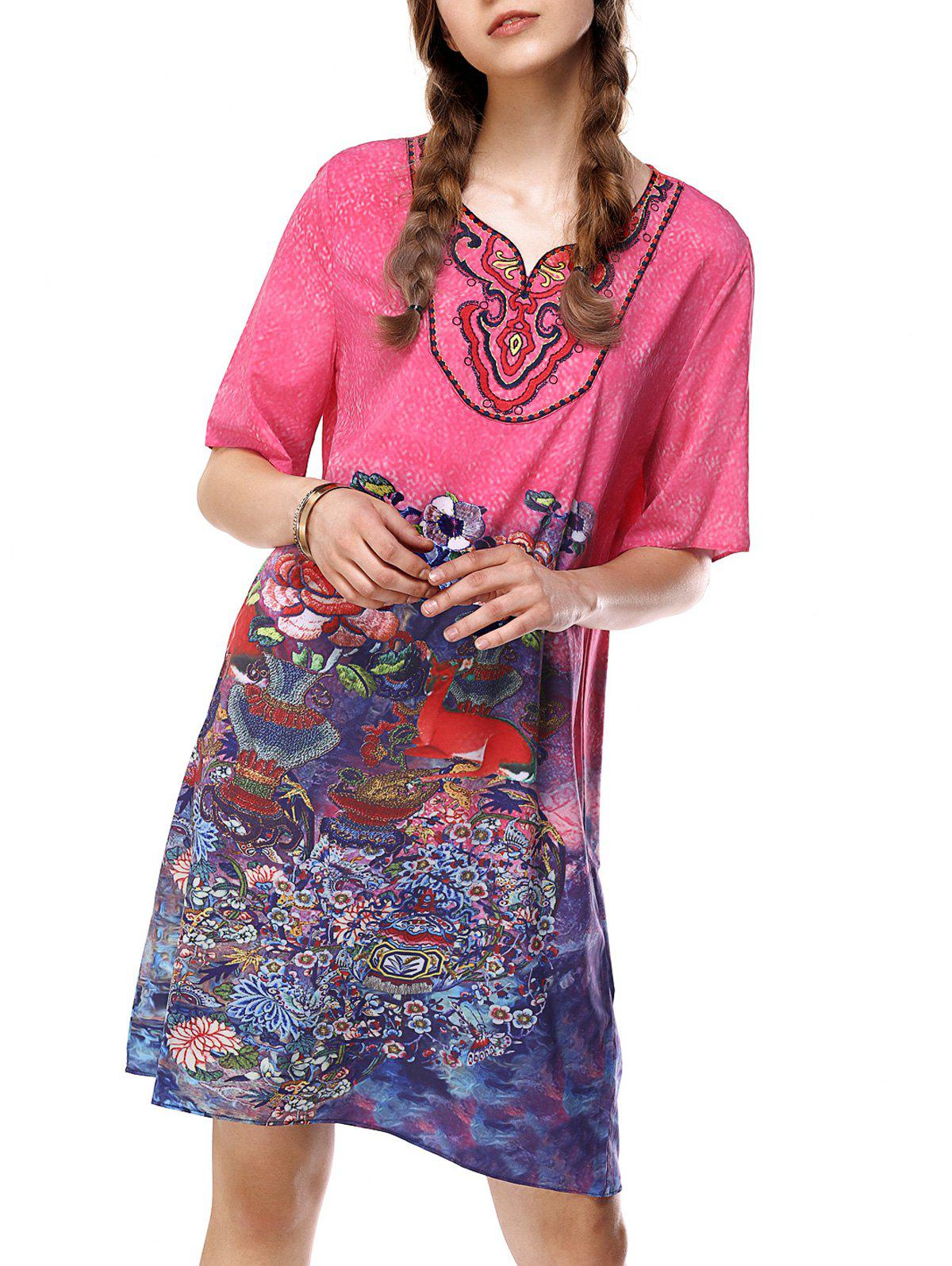Embroidered Colorful Ethic Print Loose Dress - ROSE RED L