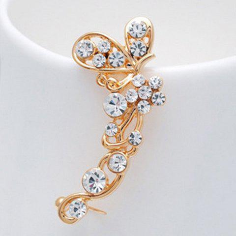 Filigree Rhinestone Butterfly Ear Cuff one piece stylish women s rhinestone cross ear cuff