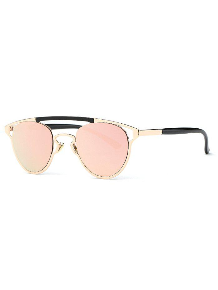 Stylish Pink Crossbar Mirrored Sunglasses -  PINK