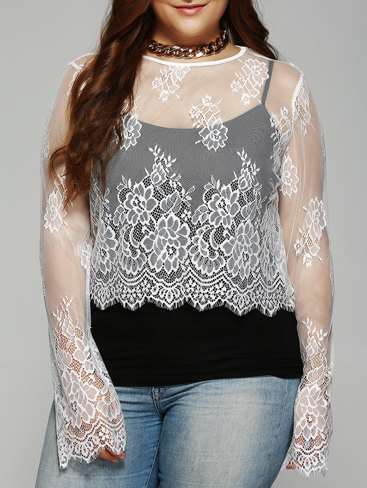 Plus Size Round Collar  See-Through Lace Top - WHITE 5XL