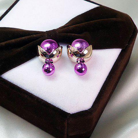Pair of Graceful Bubble Shape Double-Ended Earrings For Women - VIOLET ROSE