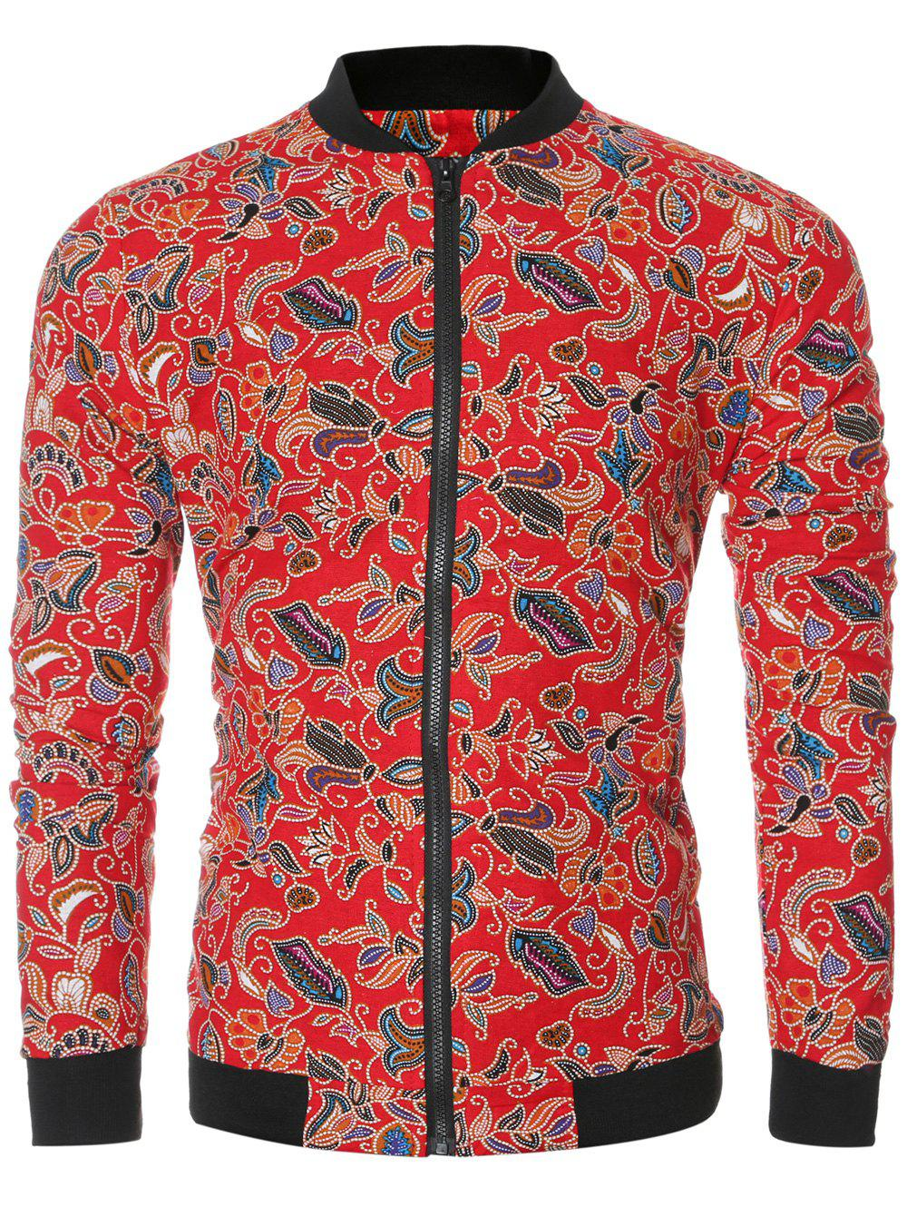 Full Floral Print Bomber Jacket - RED 2XL