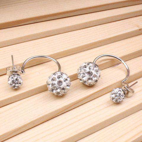 Double Ended Hollow Out Rhinestone Ball Stud Earrings -  SILVER