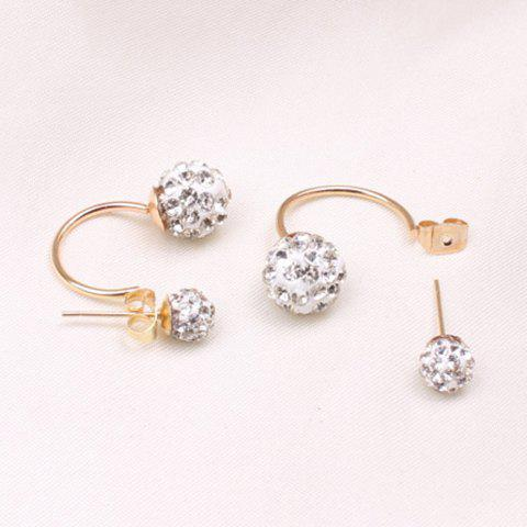 Double Ended Hollow Out Rhinestone Ball Stud Earrings
