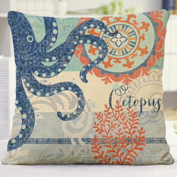 Fresh Style Floral Octopus Coral Design Sofa Pillow Case   BLUE/ORANGE
