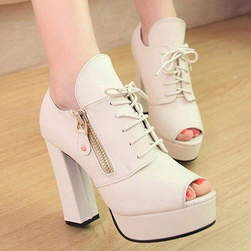 Trendy Tie Up and Zipper Design Women's Peep Toe Shoes - OFF WHITE 37