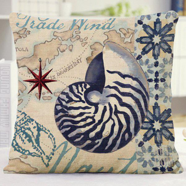 Sweet Home Decor Floral Conch Letter Pattern Pillow Case