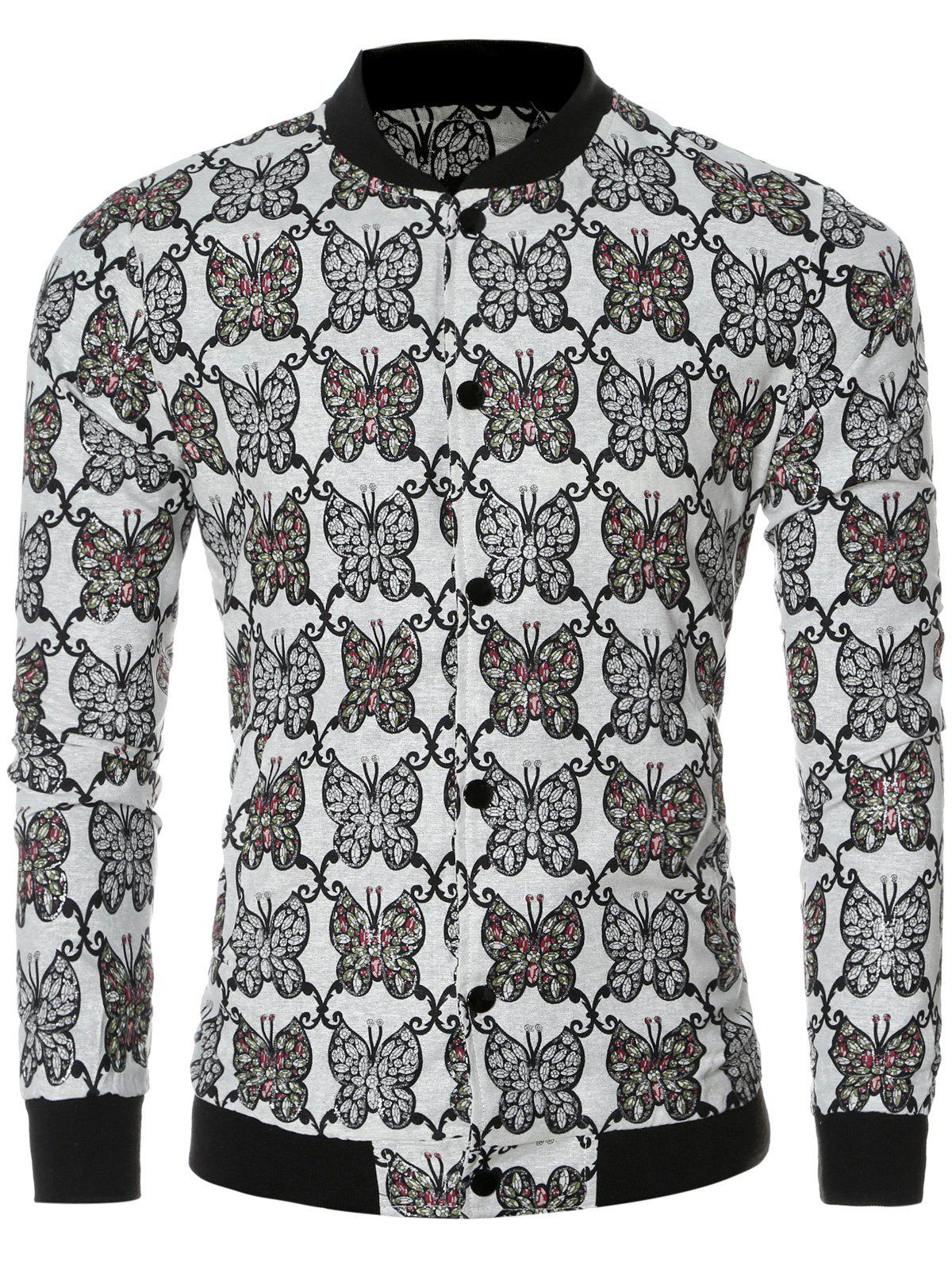 Chic Butterfly Print Collar Bomber Long Sleeve Jacket - WHITE 2XL