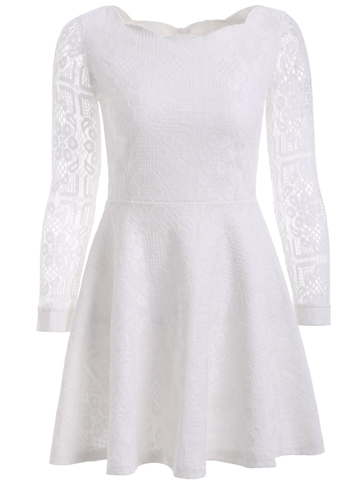 Sweet Women's Floral Embroidered Lace Dress - WHITE 3XL