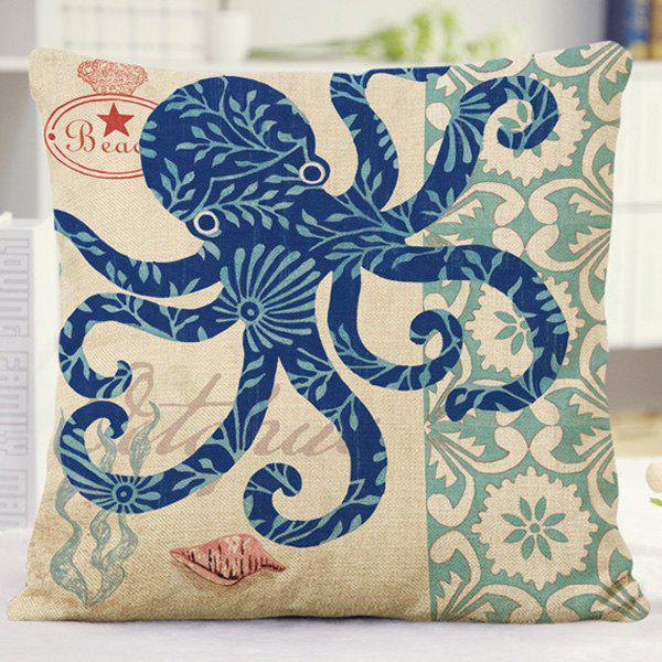 Chic Style Floral Octopus Letter Design Sofa Pillow Case - BLUE