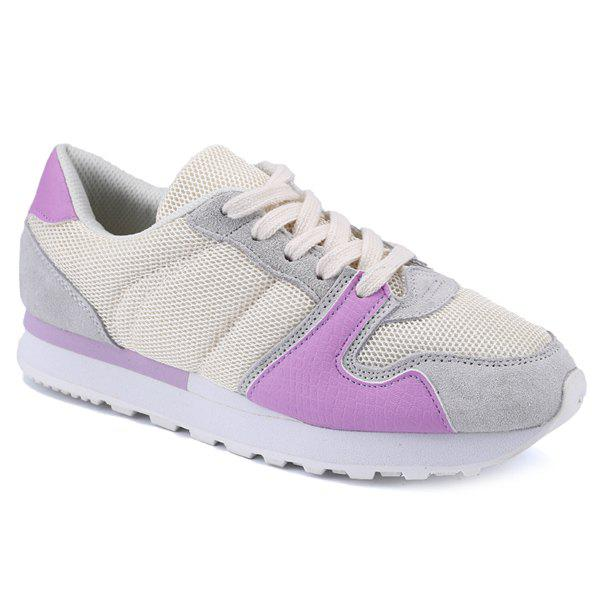 Stylish Breathable and Color Splicing Design Women's Athletic Shoes - PURPLE 38