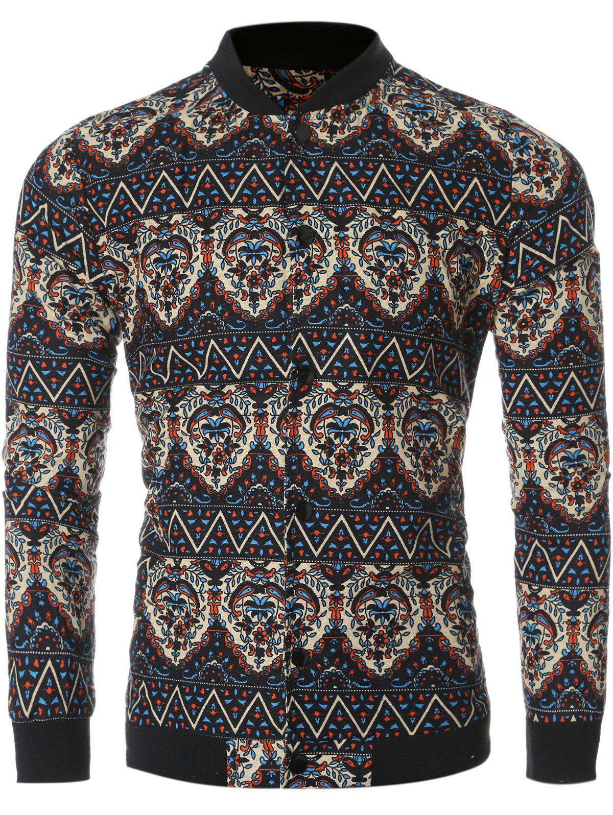 Ethnic Totem Printed Bomber Collar Long Sleeve Jacket - COLORMIX 2XL