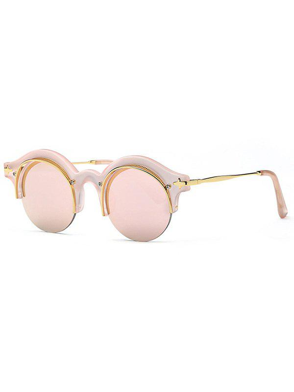 Stylish Round Pink Round Eyebrow Mirrored Sunglasses - PINK