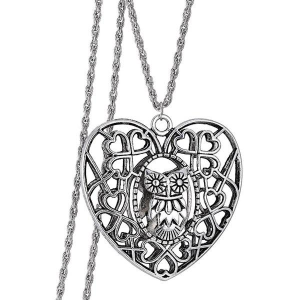 Vintage Heart Owl Sweater Chain For Women vintage alloy owl sweater chain for women