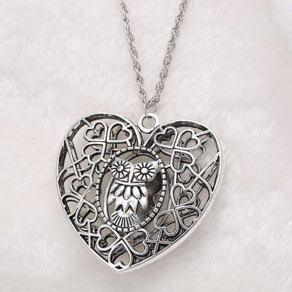 Vintage Heart Owl Sweater Chain For Women - SILVER