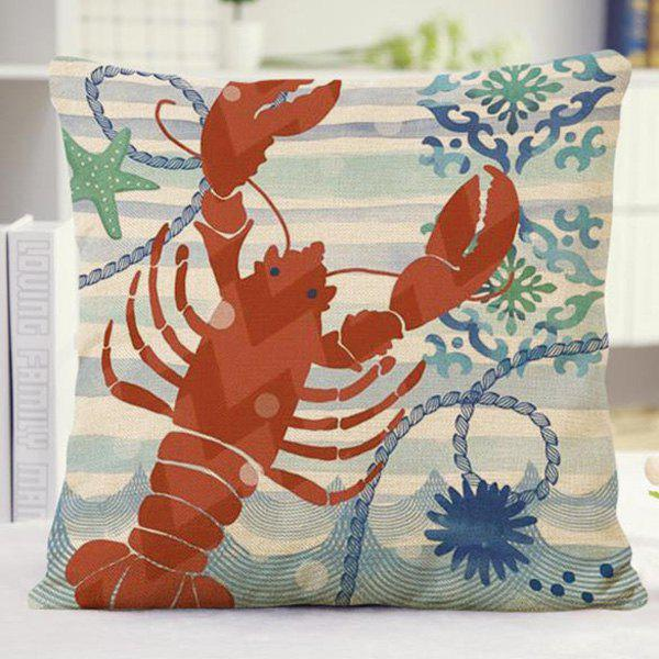 High Quality Floral Stripe Lobster Design Sofa Pillow Case - RED