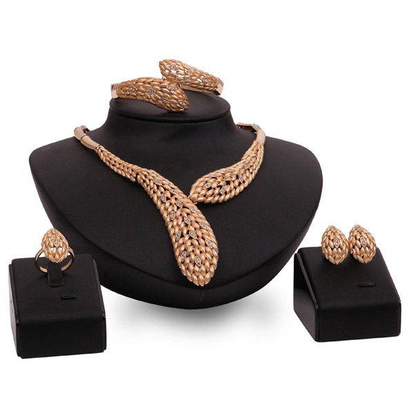 Stylish Hollow Out Gold Plated Rhinestone Wheat Necklace Set For Women
